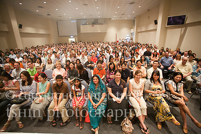 A view of the congregation from the stage at the Evangelical Church of Bangkok (ECB) during the Easter service on 24 April 2011 in Bangkok, Thailand. Easter service was a full house. (Daniel Tshin)