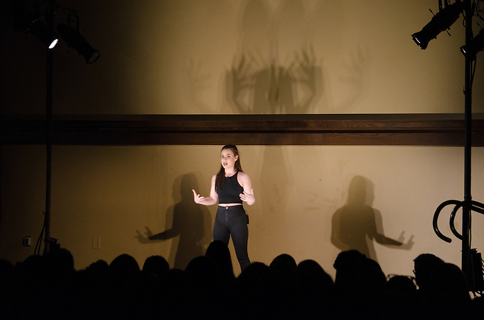 "2016-04-14-Medford/Somerville-Tufts University-51 Winthrop-Alyssa Antman performs ""Sincerely, Me,"" written by herself (Alex Knapp / The Tufts Daily). (Alex Knapp)"