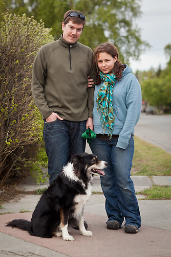 Owen Joyce and Allison Hupfauer with their dog, Kylie, near Westchester Lagoon, Anchorage (Clark James Mishler)
