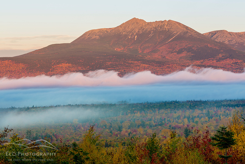 Fog and Mount Katahdin at dawn in Maine's Katahdin Woods and Waters National Monument. (Jerry and Marcy Monkman)