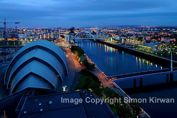 The Armadillo - SECC - Clyde Auditorium Glasgow & Clyde Arc from Crowne Plaza Hotel - photo by Simon Kirwan