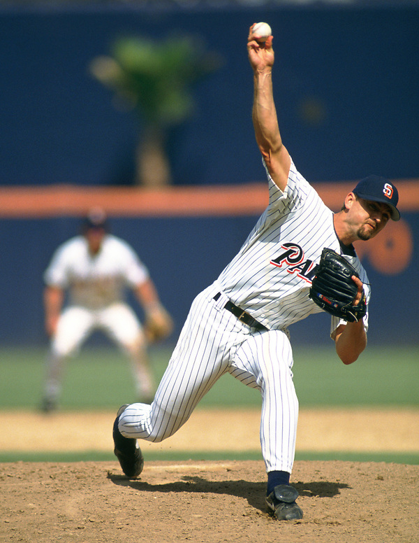 SAN DIEGO - 1992: Trevor Hoffman of the San Diego Padres pitches during an MLB game at Jack Murphy Stadium in San Diego, California during the 1992 season. (Photo by Ron Vesely). Subject: Trevor Hoffman (Ron Vesely)