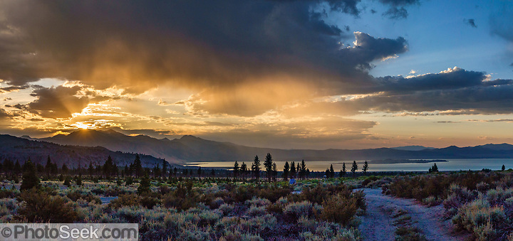 Sunset at Mono Lake seen from Mono Mills, a nearly-vanished ghost town 9.5 miles southeast of Lee Vining in Mono County, California, USA. (© Tom Dempsey / PhotoSeek.com)