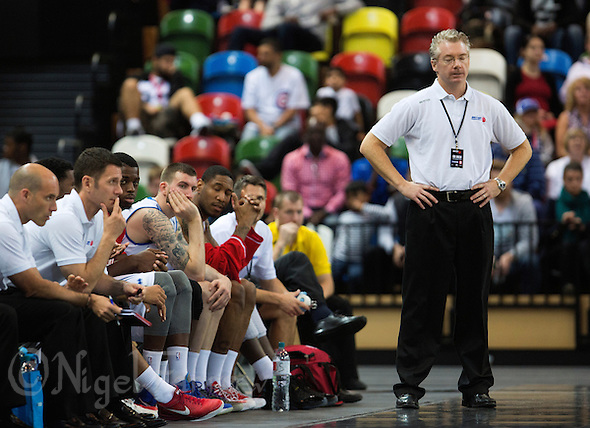 20 AUG 2014 - LONDON, GBR - Great Britain Head Coach Joe Prunty (GBR) (right) rues a missed point during the men's 2015 EuroBasket 3rd Qualifying Round game at the Copper Box Arena in the Queen Elizabeth Olympic Park in Stratford, London, Great Britain (PHOTO COPYRIGHT © 2014 NIGEL FARROW, ALL RIGHTS RESERVED) (NIGEL FARROW/COPYRIGHT © 2014 NIGEL FARROW : www.nigelfarrow.com)