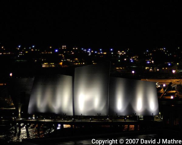 Rørvik Coastal Museum at Night. Image taken with a Nikon D2xs and 50 mm f/1.4D lens (ISO 400, 50 mm, f/1.4, 1/30 sec) (David J Mathre)