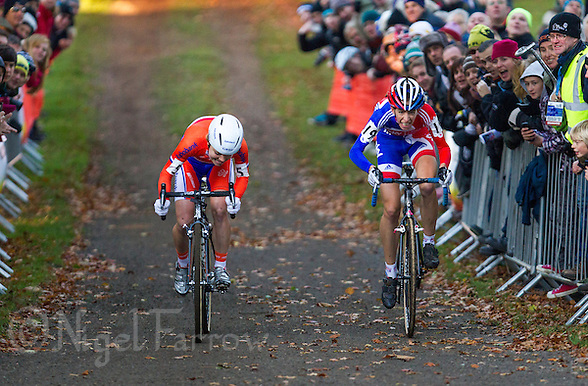 03 NOV 2012 - IPSWICH, GBR - Helen Wyman (GBR) (right) of Great Britain out sprints Sanne van Paassen (NED) of the Netherlands to win the Elite Women&#039;s European Cyclo-Cross Championships in a time of 43 minutes and 52 seconds in Chantry Park, Ipswich, Suffolk, Great Britain (PHOTO (C) 2012 NIGEL FARROW) (NIGEL FARROW/(C) 2012 NIGEL FARROW)