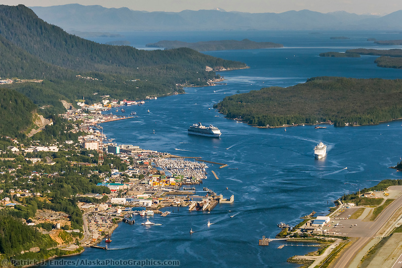 Cruise ship in Tongass Narrows and the town of Ketchikan, southeast, Alaska. Ketchikan International Airport (Patrick J. Endres / AlaskaPhotoGraphics.com)