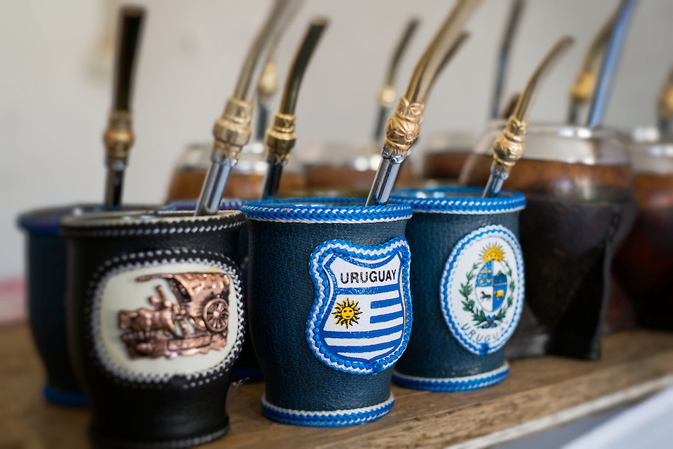 Close up of mate cups with Uruguay flag. Mate is a traditional drink very similar to tea in Argentina, Uruguay, Paraguay and some parts of Brazil. (Daniel Korzeniewski)
