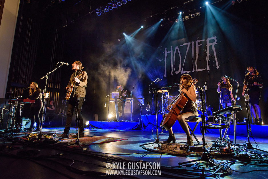 "WASHINGTON, DC - March 7, 2015 - Hozier (second from left) performs at the Lincoln Theater in Washington, D.C. His hit song ""Take Me To Church"" was nominated for Song of the Year at the 2015 Grammys. (Photo by Kyle Gustafson / For The Washington Post) (Kyle Gustafson/For The Washington Post)"