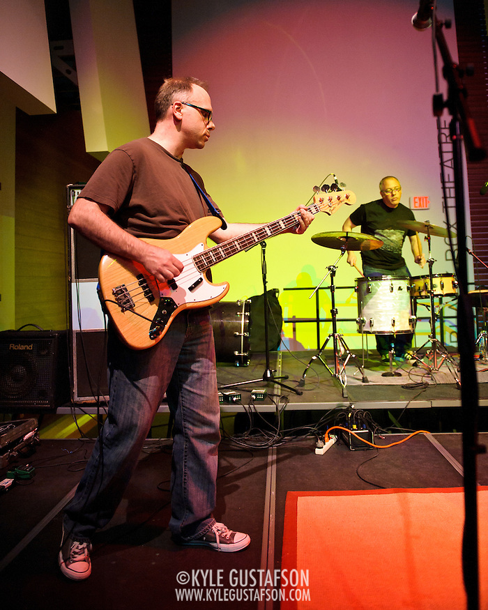 ARLINGTON, VA - April 7th, 2012 -  Archie Moore and Mike Schulman of seminal Washington, D.C. indie-pop band Black Tambourine perform at Artisphere in Arlington, VA.  The band reunited to play their first gigs since 1991 for the 20th anniversary party for Chickfactor Magazine.  (Photo by Kyle Gustafson/For The Washington Post) (Kyle Gustafson/FTWP)