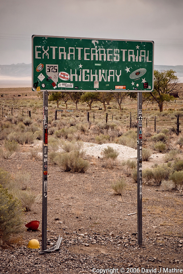 Extraterrestrial Highway Sign. Somewhere near Area 51 in Nevada. Image taken with a Nikon D200 camera and 18-70 mm kit lens (ISO 400, 62 mm, f/7.1, 1/180 sec). (David J Mathre)
