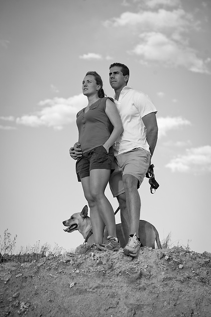 Juliette Brewer Michael Smith Engagement portraits at White Mesa New Mexico (Steven St. John)