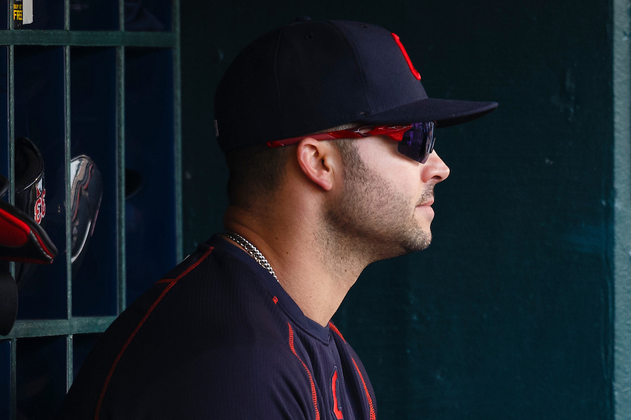Jun 13, 2015; Detroit, MI, USA; Cleveland Indians designated hitter Nick Swisher (33) watches from the dugout in the seventh inning against the Detroit Tigers at Comerica Park. Mandatory Credit: Rick Osentoski-USA TODAY Sports (Rick Osentoski/Rick Osentoski-USA TODAY Sports)