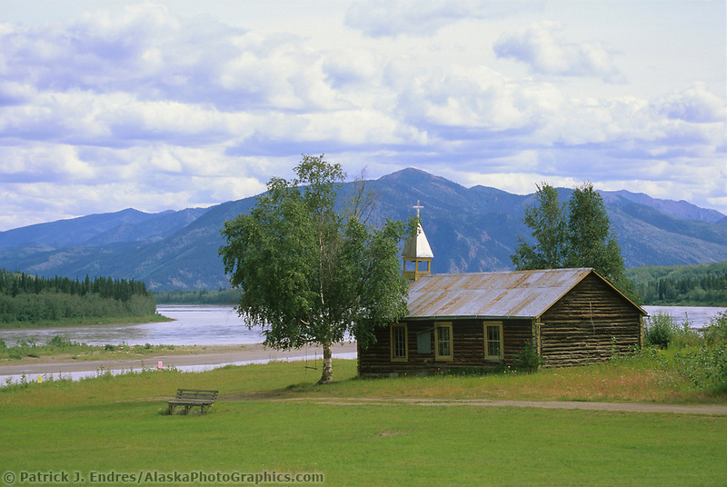 Log cabin church along the Yukon River, Native village, Eagle, Alaska (Patrick J. Endres / AlaskaPhotoGraphics.com)