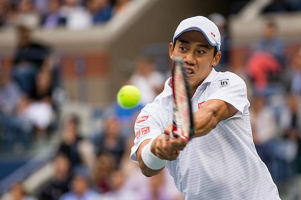 Kei Nishikori, 2014 U.S. Open Men's Final. Photographed at the Billie Jean King National Tennis Center in Queens, NY, USA 9/8/2014. © 2014 Darren Carroll (Darren Carroll/Sports Illustrated)