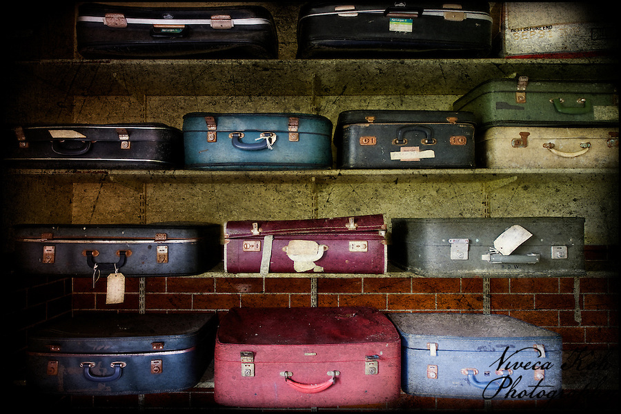 Suitcases on shelves at West Park abandoned asylum (Viveca Koh)