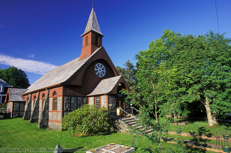 St. Peters By-The-Sea Episcopal Church, located just a block from the Russian Bishop's House, this lovely church was built in 1899. On the church grounds is a plant grown from a cutting of the famous Glastonbury Thorn in England, Sitka, Alaska (Patrick J. Endres / AlaskaPhotoGraphics.com)
