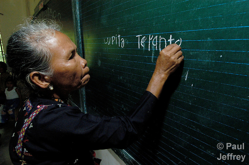 65-year old Lupita Terante is learning how to read and write in a Catholic Church-sponsored program in Tandawan, on the southern Philippine island of Mindanao. (Paul Jeffrey)