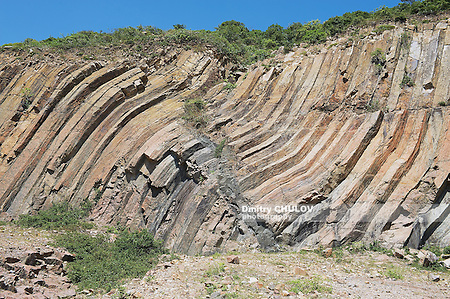 Bent hexagonal columns of volcanic origin at the Hong Kong Global Geopark in Hong Kong, China. (Dmitry Chulov)