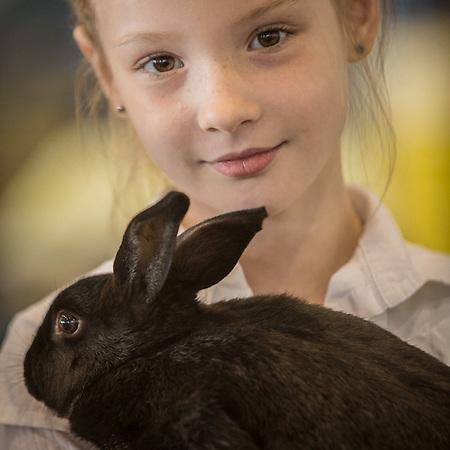 Suzi Ryan with her award winning Sat Cross rabbit at the Alaska State Fair, Palmer, Alaska (© Clark James Mishler)
