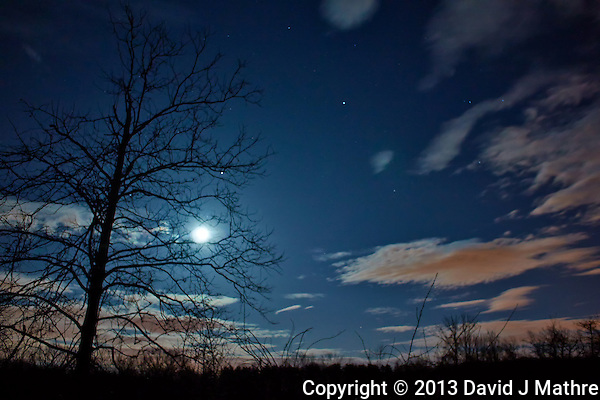 New Jersey Early Spring Night Sky with Moon and Clouds. Image taken with a Nikon 1 V2 and 10 mm f/2.8 lens (ISO 160, 10 mm, f/2.8, 10 sec). (David J Mathre)
