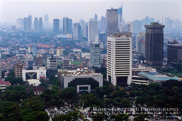 Indonesia, Java, Jakarta. View from MONAS, a lift runs to te top of the monument. Jakarta skyline, looking south. (Photo Bjorn Grotting)