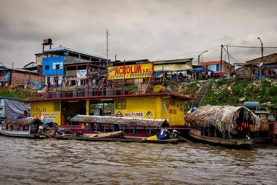 NAUTA, PERU - CIRCA OCTOBER 2015: Boats in the port of Nauta in the Peruvian Amazon. (Daniel Korzeniewski)