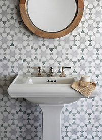 Medina, a natural stone waterjet mosaic shown in Ming Green, Carrara polished and Thassos honed, is part of the Miraflores Collection by Paul Schatz for New Ravenna Mosaics. (Picasa)