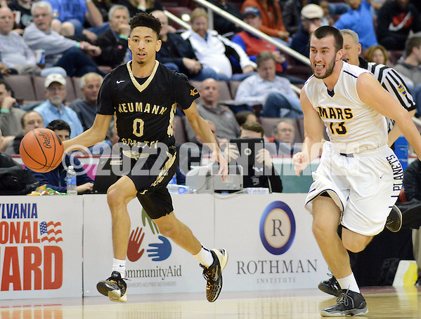 SBNEUM19P Neumann-Goretti's Vaughn Covington #0 dribbles up court after stealing the ball from Mars Sam Morrissey #13 in the second quarter of the boys basketball PIAA Class AAA state championship game Friday March 18, 2016 at the Giant Center in Hershey, Pennsylvania. (WILLIAM THOMAS CAIN/For The Inquirer) (William Thomas Cain/Cain Images)