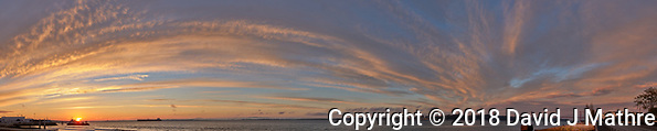 Sunrise Panorama over the Tagus River in Lisbon. Composite of eight images taken with a Leica CL camera and 23 mm f/2 lens (ISO 200, 23 mm, f/8, 1/60 sec). Raw images processed with Capture One Pro and AutoPano Giga. (David J Mathre)