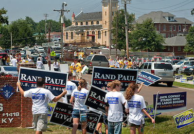 Supporters of Republican Senate candidate Rand Paul line the road Aug. 7, 2010 at the 130th annual Fancy Farm picnic and political rally in Fancy Farm, Ky. Paul, along with his opponent, Democrat Jack Conway, spoke at the picnic, which is held by St. Jerome Catholic Church, seen in the background. (Photo by Carmen K. Sisson/Cloudybright) (Carmen K. Sisson/Cloudybright)
