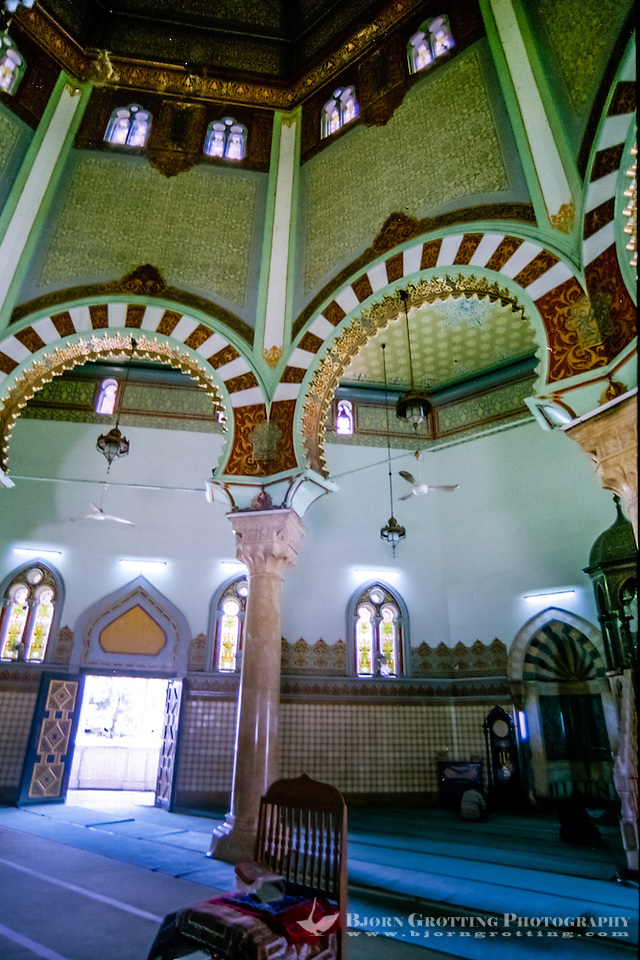 Indonesia, Sumatra. Medan. The Great Mosque (Masjid Raya) of Medan built in 1906 in Moroccan style. Interior. (Photo Bjorn Grotting)