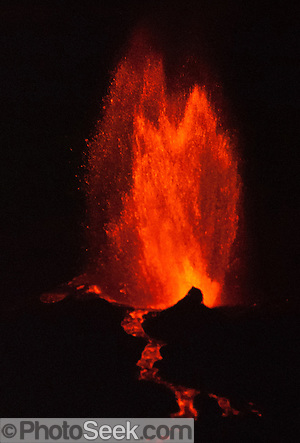 April 21, 2009: La Cumbre volcano erupts on Fernandina, Galapagos Islands, Ecuador, South America.