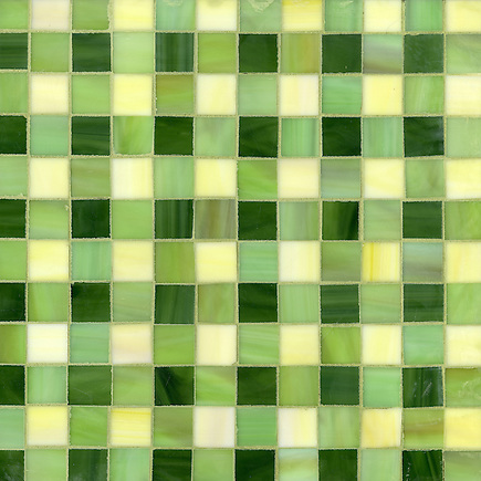 Bonnie, a jewel glass mosaic field shown in Citrine, Peridot and Aventurine, is part of the Plaids and Ginghams Collection by New Ravenna Mosaics. (New Ravenna Mosaics 2012)
