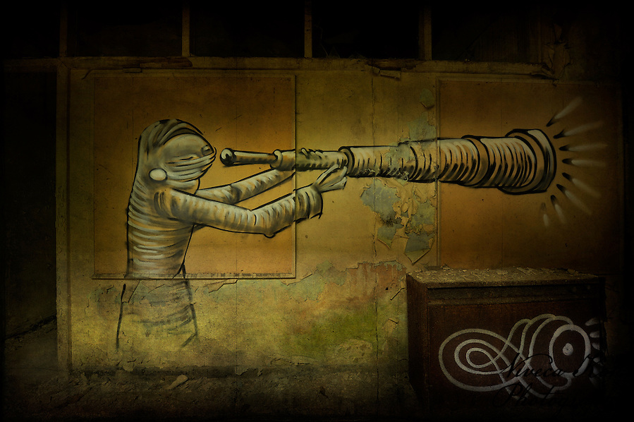 Painting by artist Phlegm in abandoned building in Sheffield, South Yorkshire (Viveca Koh)