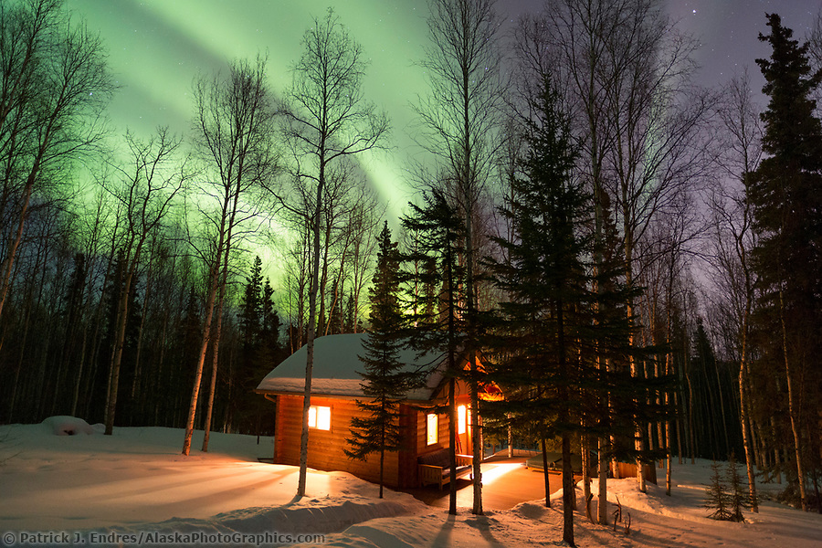 Aurora borealis and boreal forest in Fairbanks, Alaska. (Patrick J Endres / AlaskaPhotoGraphics.com)