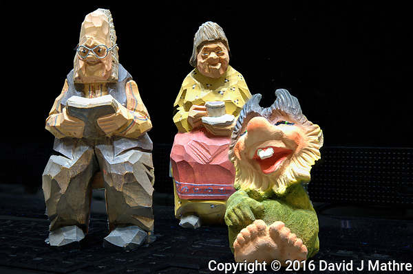 The troll family on Christmas Eve. Composite focus stacked images taken with a Nikon D3x camera and 60 mm f/2.8 macro lens (ISO 100, 60 mm, f/3, 1/1.6 sec). Camera controled and images processed with Helicon Focus. (David J Mathre)