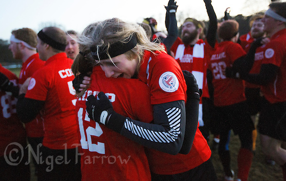 08 MAR 2015 - NOTTINGHAM, GBR - Southampton Quidditch Club 1's Imogen Gregg celebrates the teams 120-90 2015 British Quidditch Cup final victory over Radcliffe Chimeras at Woollaton Hall and Deer Park in Nottingham, Great Britain with team mate Jemma Thripp  (PHOTO COPYRIGHT © 2015 NIGEL FARROW, ALL RIGHTS RESERVED) (NIGEL FARROW/COPYRIGHT © 2015 NIGEL FARROW : www.nigelfarrow.com)