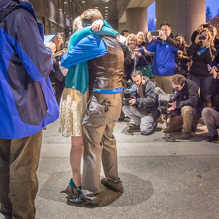 The marriage of Courtney Lamb and Stephanie Pearson at the Frontier Building in Anchorage (© Clark James Mishler)
