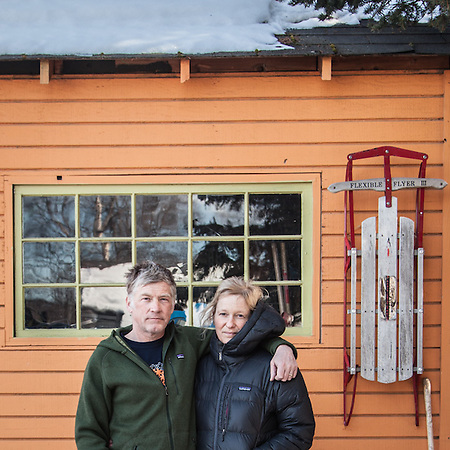 Tom and Marya Pillifant in front of their back shed in Anchorage's South Addition neighborhood  tdog2@mac.com (© Clark James Mishler)