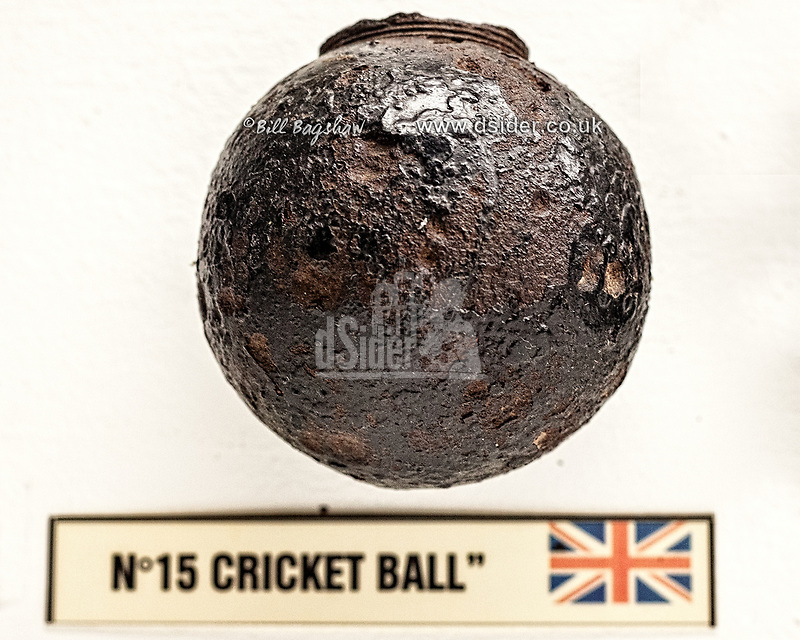British WWI Cricket Ball Grenade. (copyright Bill Bagshaw/M.Williams all rights reserved)