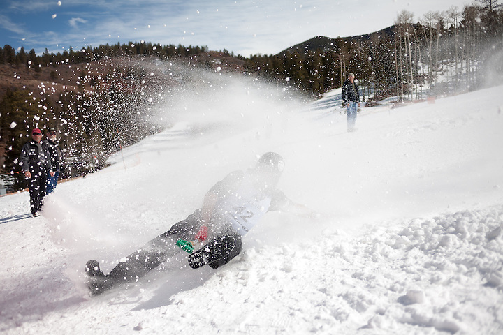 Snow shovel racing in Angel Fire New Mexico on Feb. 11, 2012. (Steven St John)