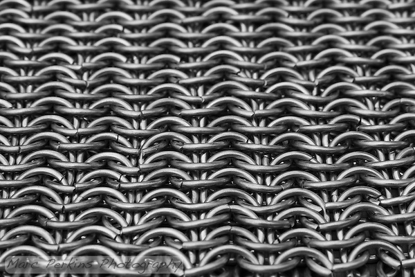Looking straight down the sheet of chain mail is just enthralling.  I love the lines!  This is a European 6-in-1 pattern. (Marc C. Perkins)