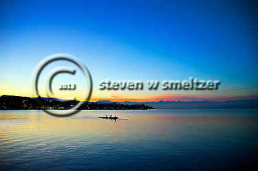 Morning Crew Rows Across Lake Zurich Switzerland (Steven Smeltzer)
