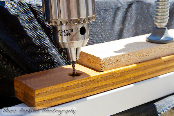 I drilled a small pilot hole for the self-drilling screw. (Marc Perkins)