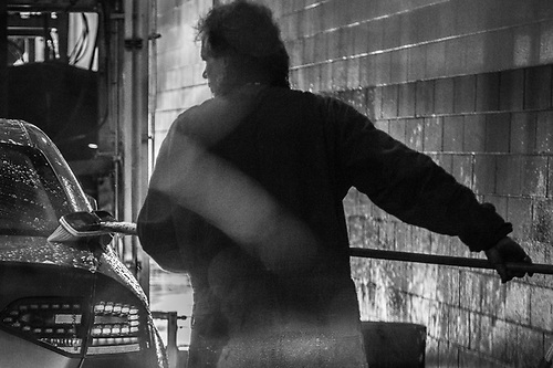 Prep man at Johnson's Car Wash, Anchorage (© Clark James Mishler)