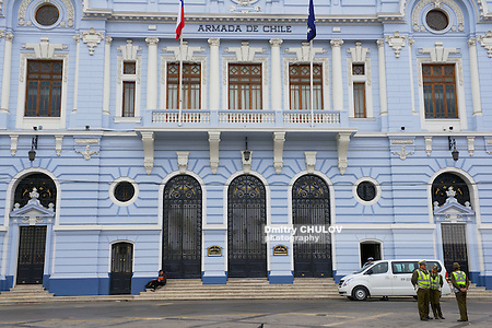VALPARAISO, CHILE - OCTOBER 19, 2013: Unidentified policemen stand in front of the Chilean Navy building in Valparaiso, Chile. (Dmitry Chulov)