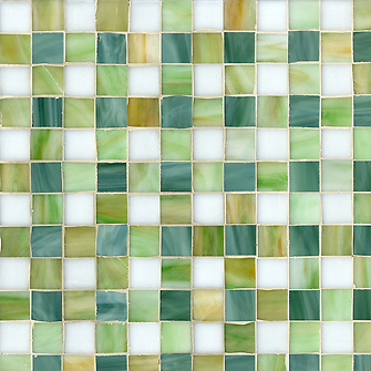 Bonnie, a jewel glass mosaic field shown in Absolute white, Peridot, Jade and Emerald, is part of the Plaids and Ginghams Collection by New Ravenna Mosaics. (New Ravenna Mosaics 2012)