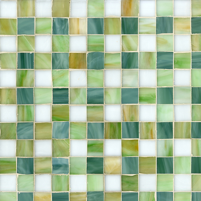 Bonnie Jewel glass mosaic field shown in Absolute white, Peridot, Jade and Emerald. (New Ravenna Mosaics 2012)
