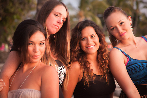 Local girls, Shakti, Maria, Kimie, and Anuhea, Honis Beach, Kialua, Kona, Hawaii (Clark James Mishler)